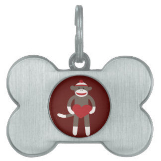 Cute Sock Monkey with Hat Holding Heart Pet Tag
