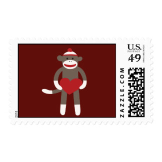 Cute Sock Monkey with Hat Holding Heart Postage Stamps