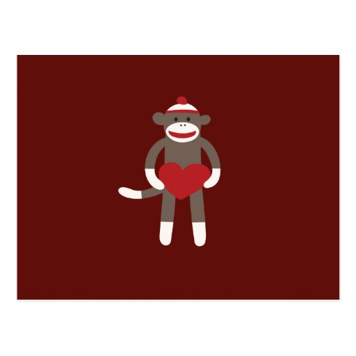 Cute Sock Monkey with Hat Holding Heart Postcard