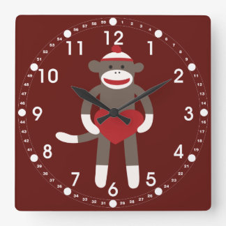 Cute Sock Monkey with Hat Holding Heart Square Wall Clock