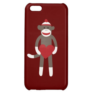 Cute Sock Monkey with Heart Red iPhone 5 Case