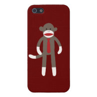 Cute Sock Monkey with Neck Tie Red iPhone 5 Case