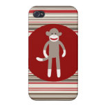 Cute Sock Monkey with Red Stripes iPhone 4 Case