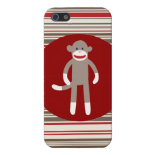 Cute Sock Monkey with Red Stripes iPhone 5 Case