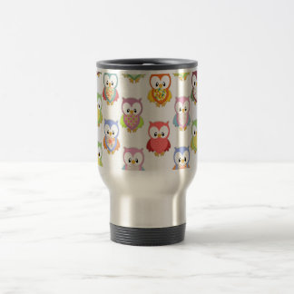 Cute soft colourful owls different chest patterns 15 oz stainless steel travel mug