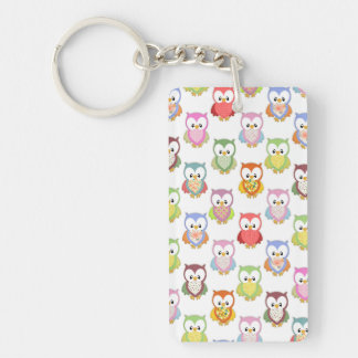 Cute soft colourful owls different chest patterns keychain