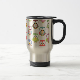 Cute soft colourful owls different chest patterns coffee mugs