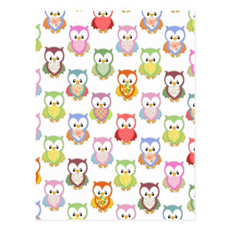 Cute soft colourful owls different chest patterns postcard