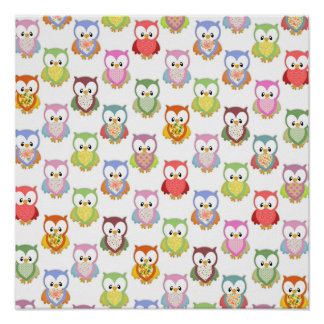 Cute soft colourful owls different chest patterns poster