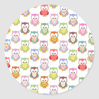 Cute soft colourful owls different chest patterns classic round sticker