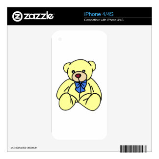 Cute Soft Cuddly Yellow Teddy Bear Skins For iPhone 4S