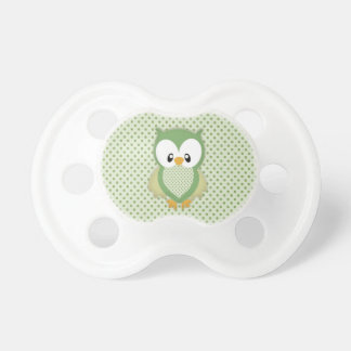 Cute soft gree cream and yellow owl pacifier