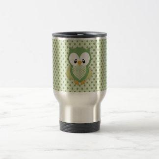 Cute soft gree cream and yellow owl travel mug