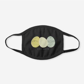 CUTE SOFT PASTEL YELLOW BLUE GREEN EASTER EGGS BLACK COTTON FACE MASK