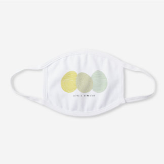 CUTE SOFT PASTEL YELLOW BLUE GREEN EASTER EGGS WHITE COTTON FACE MASK