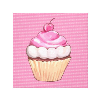Cute Soft Pink Cupcake Canvas Print Stretched Canvas Print