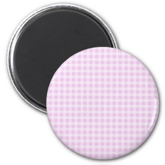 Cute Soft Rose Pink White Gingham Check Pattern 2 Inch Round Magnet