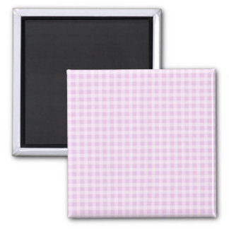 Cute Soft Rose Pink White Gingham Check Pattern 2 Inch Square Magnet