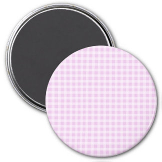 Cute Soft Rose Pink White Gingham Check Pattern 3 Inch Round Magnet
