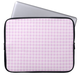 Cute Soft Rose Pink White Gingham Check Pattern Laptop Sleeve