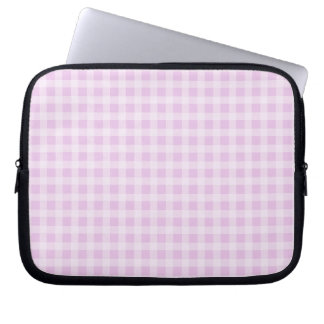 Cute Soft Rose Pink White Gingham Check Pattern Computer Sleeve