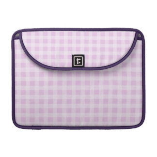 Cute Soft Rose Pink White Gingham Check Pattern Sleeves For MacBooks