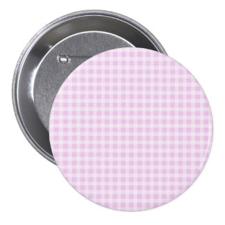 Cute Soft Rose Pink White Gingham Check Pattern Pinback Button