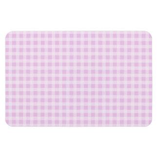 Cute Soft Rose Pink White Gingham Check Pattern Rectangular Photo Magnet