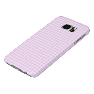 Cute Soft Rose Pink White Gingham Check Pattern Samsung Galaxy S6 Cases