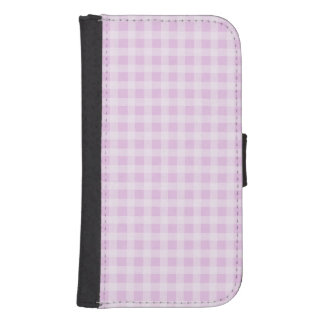 Cute Soft Rose Pink White Gingham Check Pattern Wallet Phone Case For Samsung Galaxy S4