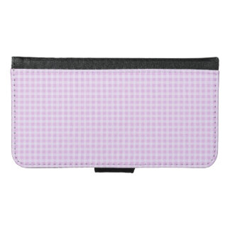 Cute Soft Rose Pink White Gingham Check Pattern Wallet Phone Case For Samsung Galaxy S6