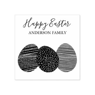 CUTE SOFT SUBTLE EASTER EGGS PERSONALIZED RUBBER STAMP