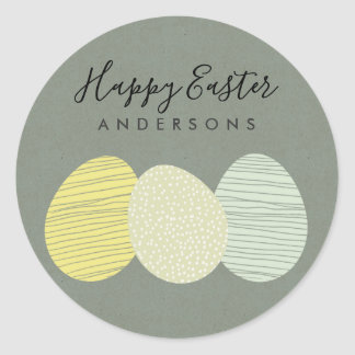 CUTE SOFT SUBTLE PASTEL EASTER EGGS PERSONALIZED CLASSIC ROUND STICKER