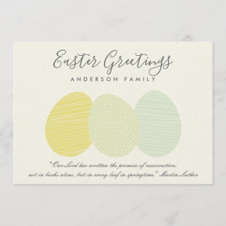 CUTE SOFT SUBTLE PASTEL EASTER EGGS PERSONALIZED HOLIDAY CARD