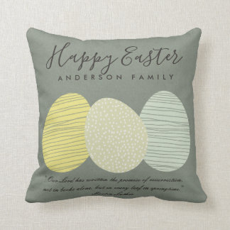 CUTE SOFT SUBTLE PASTEL EASTER EGGS PERSONALIZED THROW PILLOW