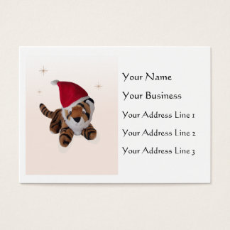 Cute Soft Toy Tiger In Santa Hat Bookmark Business Business Card