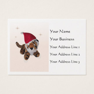 Cute Soft Toy Tiger In Santa Hat Bookmark Pearl Business Card