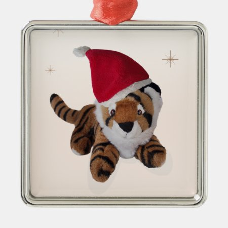 Cute Soft Toy Tiger In Santa Hat Decoration