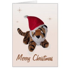Cute Soft Toy Tiger In Santa Hat Merry Christmas Card at Zazzle