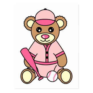 Cute Softball Girl Bear - Pink Postcard