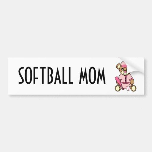 Cute Softball Mom -  Girl Teddy Bear Pink Car Bumper Sticker