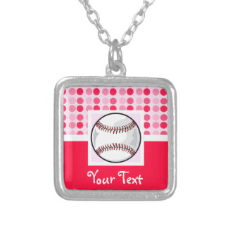 Cute Softball Square Pendant Necklace