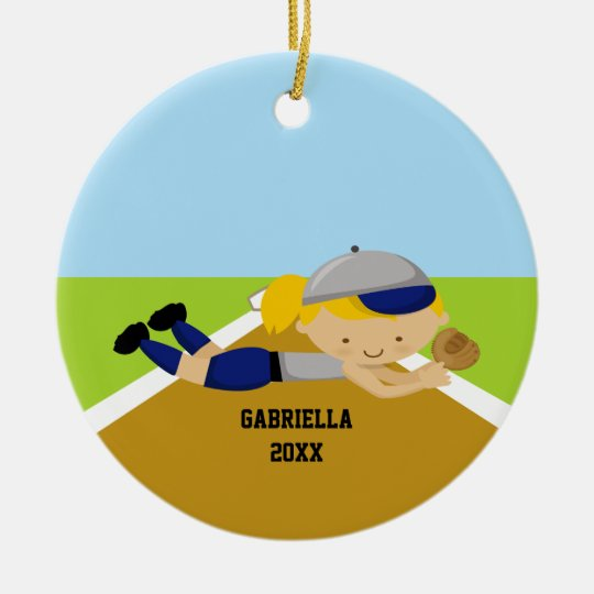 Cute Softball Player in Blue & Grey Ornament