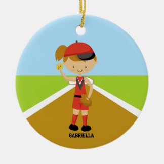 Cute Softball Player in Red & Black Ornament
