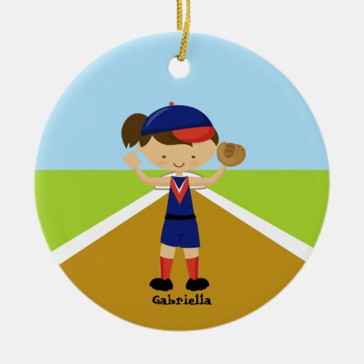 Cute Softball Player in Red & Blue Ornament