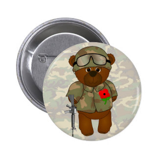 Cute Soldier Teddy Bear with Poppy Buttons