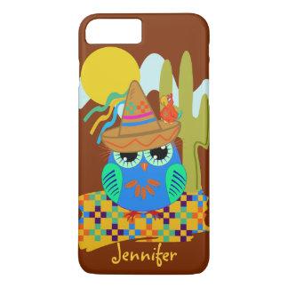 Cute Sombrero owl with parrot & custom Name iPhone 7 Plus Case