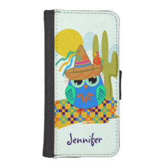 Cute Sombrero owl with parrot & custom Name iPhone SE/5/5s Wallet
