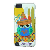 Cute Sombrero owl with parrot & custom Name iPod Touch 5G Case