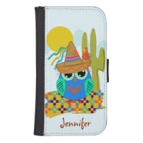 Cute Sombrero owl with parrot & custom Name Wallet Phone Case For Samsung Galaxy S4